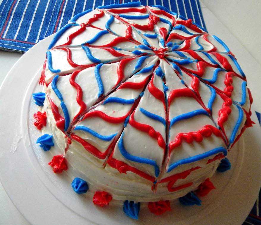 Cake Decorating Ideas For July 4th : Cleo Coyle Recipes.com: Easy July 4th Fireworks Flag Cake ...