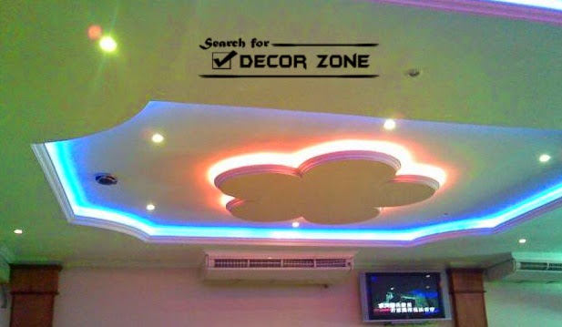 suspended gypsum board ceiling design, false ceiling lights