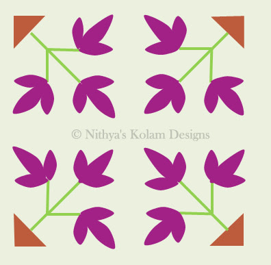 Flower and Leaf kolam dots 8 x 8