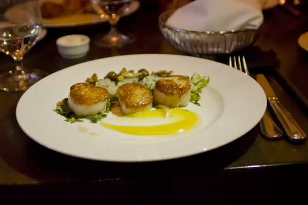 Scallops at French restaurant Miel in Nashville Tennessee