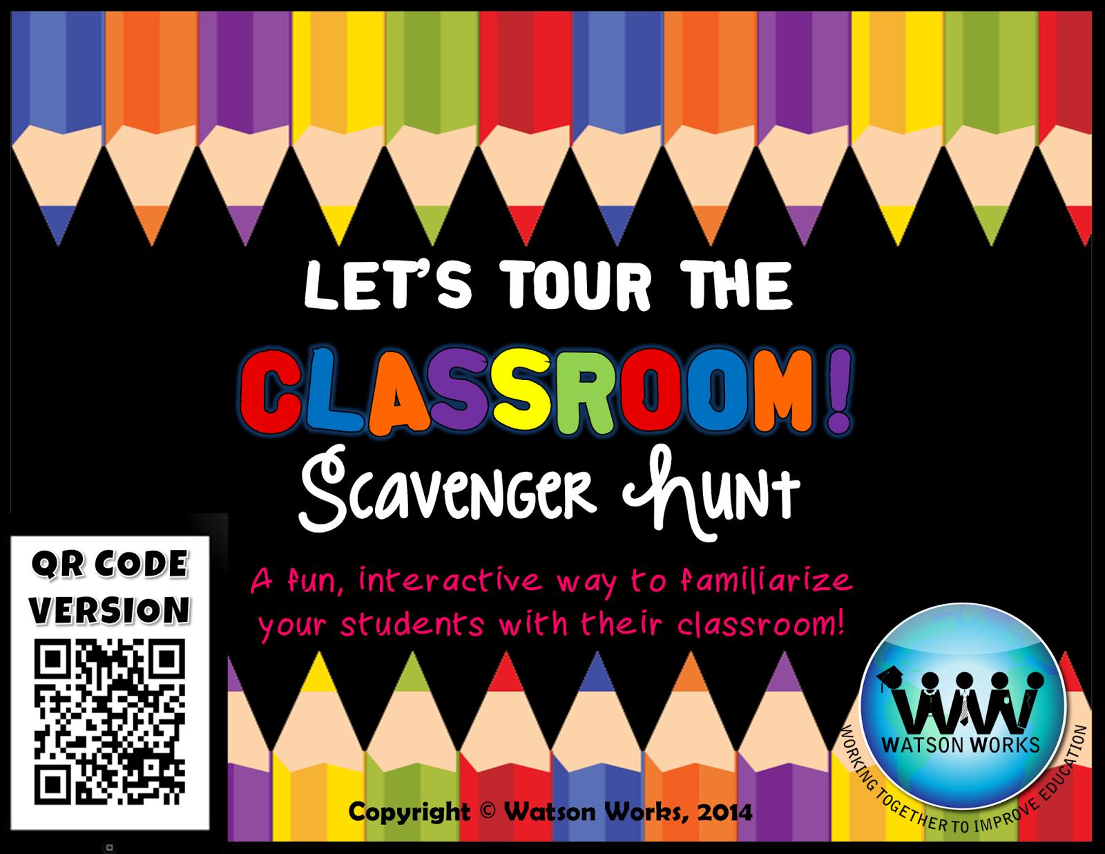 http://www.teacherspayteachers.com/Product/Lets-Tour-the-Classroom-Scavenger-Hunt-A-Back-to-School-Activity-w-QR-Codes-1352848
