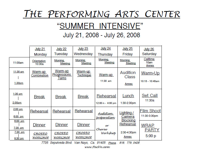 The Performing Arts Center Van Nuys Summer Intensive Program
