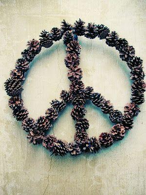 peace sign pine cone wreath, hippie, boho