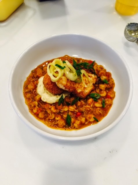 Lost Trout: Perdu-Style Speckled Trout, Sweet Corn Calas, and Crawfish Étouffée