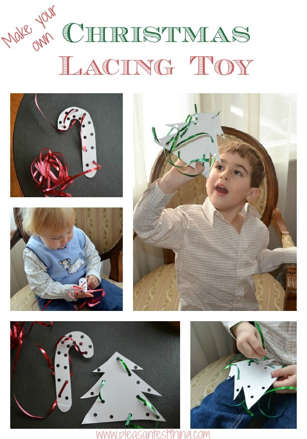 DIY Christmas lacing toy using paper plates