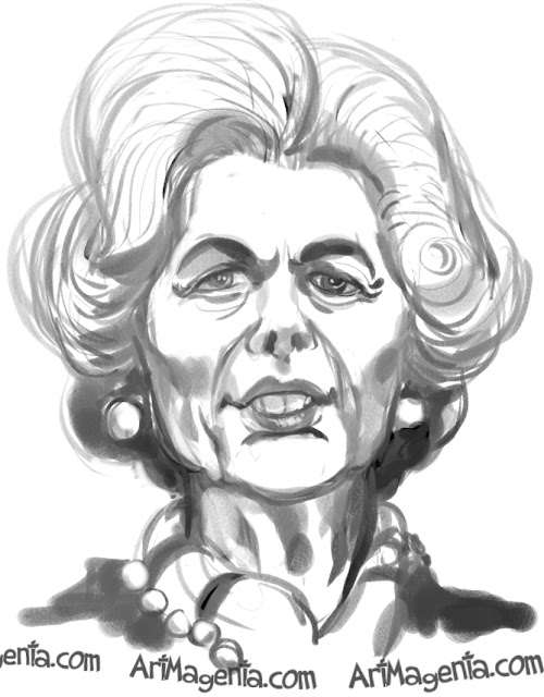 Margaret Thatcher caricature cartoon. Portrait drawing by caricaturist Artmagenta