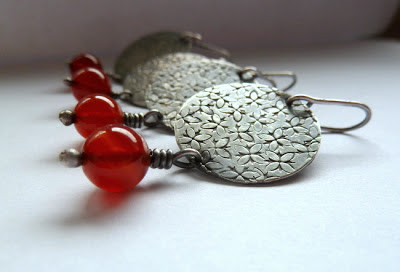 Handcrafted Sterling Silver and Carnelian earrings by Doxallo Studio