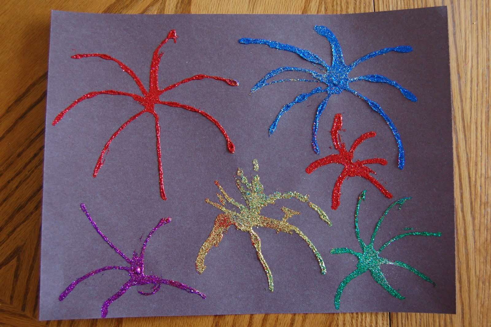 Th of july glitter fireworks picture craft preschool
