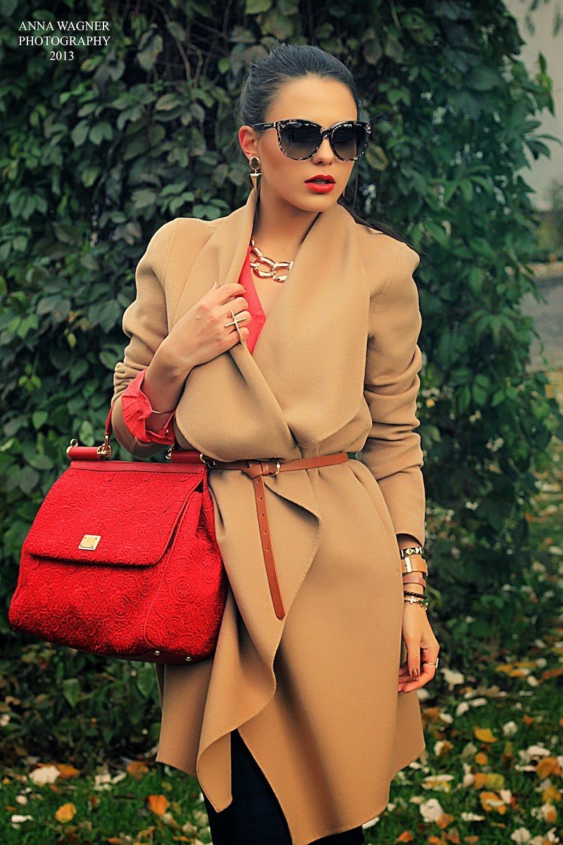 beige coat, d&g red lace sicily