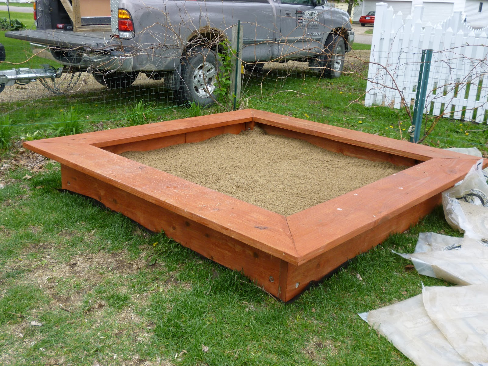 Five Foot Mama Look What My Hubby Did! Our Awesome Backyard Sandbox