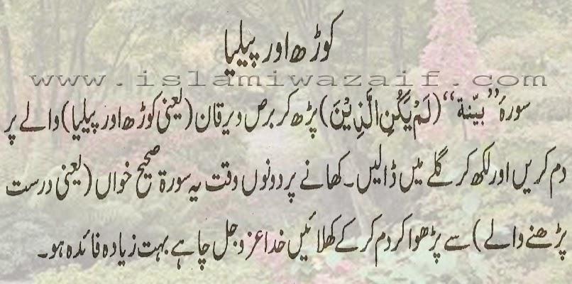 korh or pilia ka ilaj in urdu