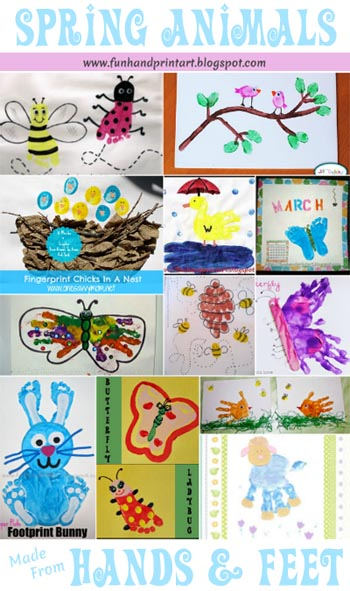 Spring Animals made from Handprints & Footprints