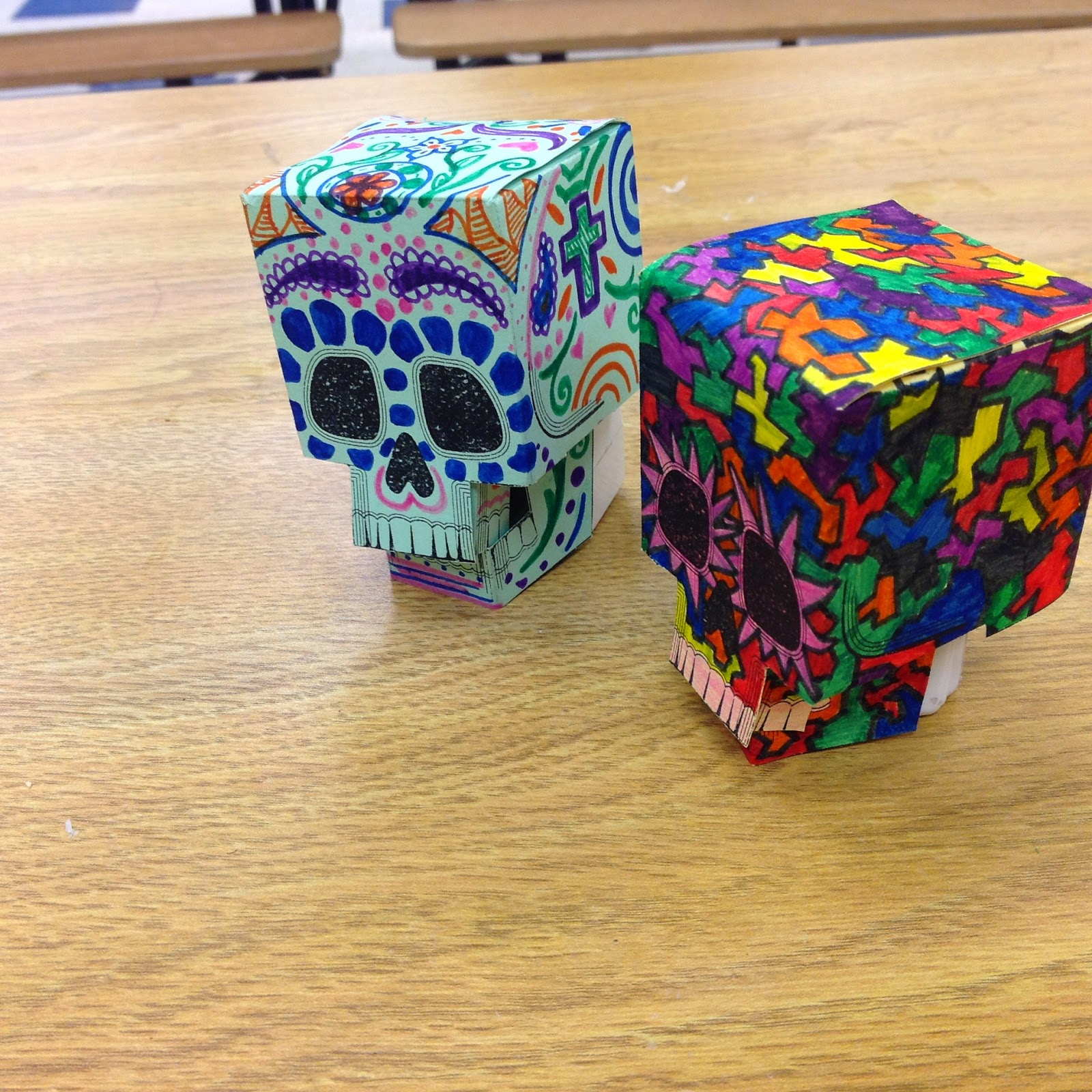 3D Paper Skull Calavera Day of the Dead Art Lesson