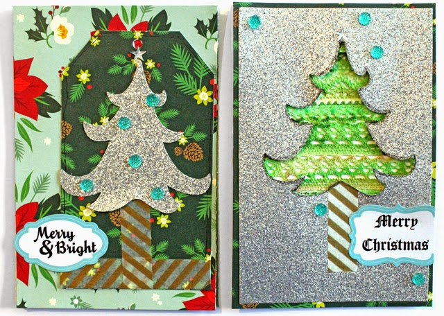 i made these 2 christmas cards using fabric tapes silver glitter paper and gold washi
