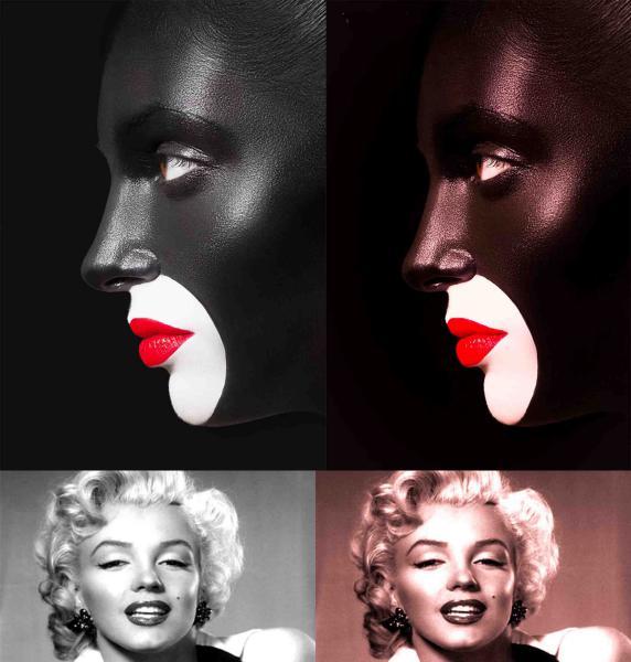 sepia rojizo a las fotografias en blanco y negro, transformando, el negro carbon en un negro mas chocolote
