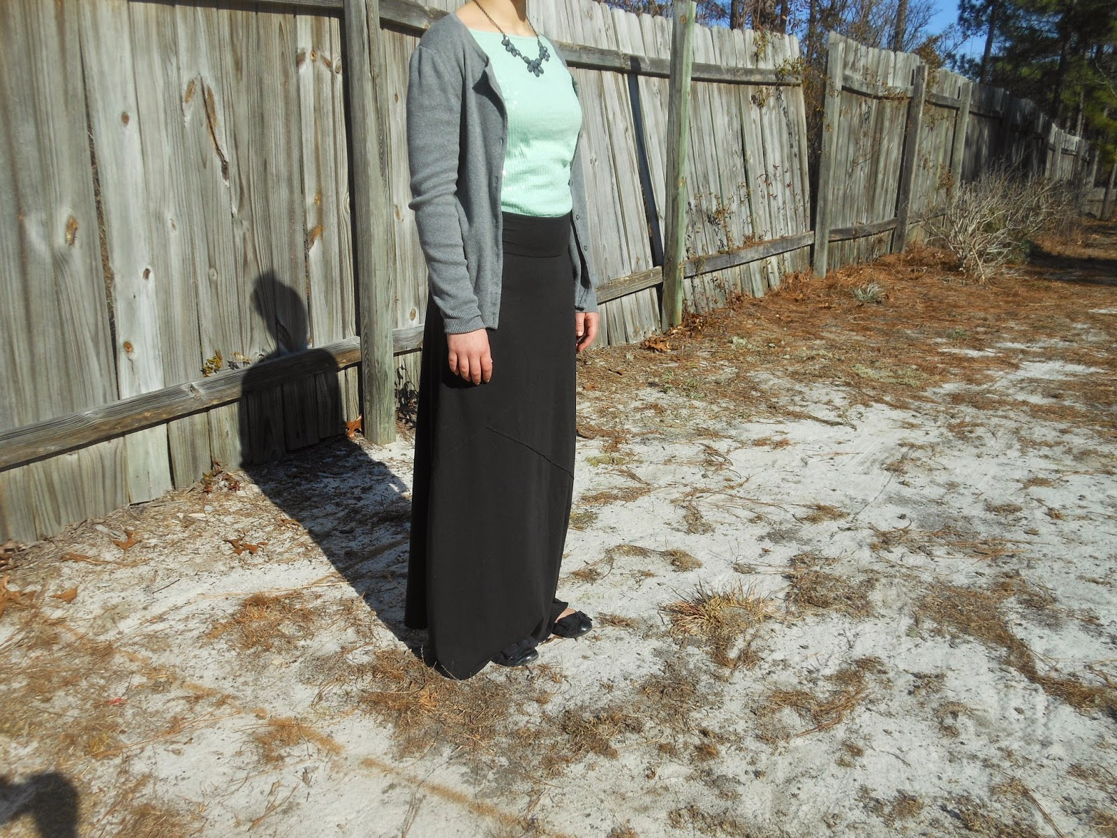Mint and Grey- Two Ways. Black maxi skirt, mint sequin top, grey cardigan, grey statement necklace, black flats.