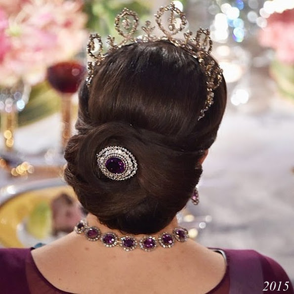 Showy hairstyle of Crown Princess Victoria of Sweden at Nobel Prize ceremonies in the years of 2015 and 2014 and 2012,  Dresses, Gown, Jewelry, Tiara, Weddings Dress