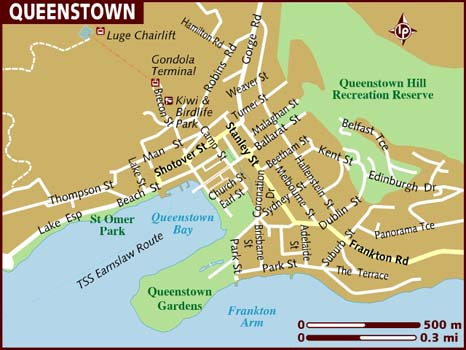 Political Map of Queenstown New Zealand | Political Map of ...