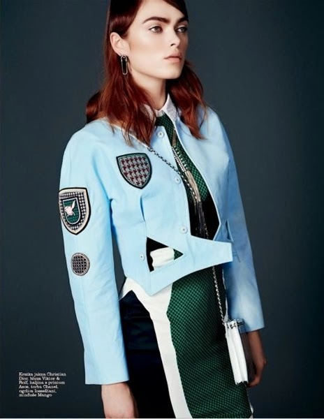 Christian Dior SS 2014 Editorial:Blue Military Jackets With Shield Patch Embroidered Badges