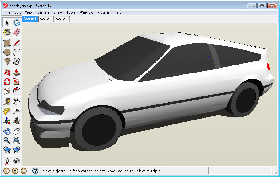 Carblogger how to draw a car rapidly and accurately with trimble follow the link to download it in sketchup 8 format if you want to draw the same car here is the blueprint of honda crx in which the model is based malvernweather Choice Image