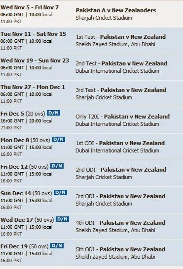 Pakistan Vs New Zealand Cricket Schedule and Fixture 2014