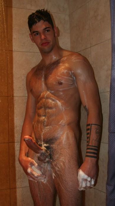 In man naked shower