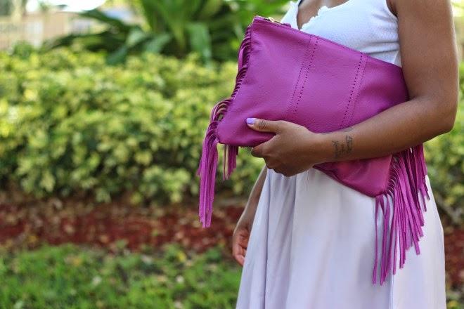 lovecortnie, clutch, purse, fuchsia, fringe trend
