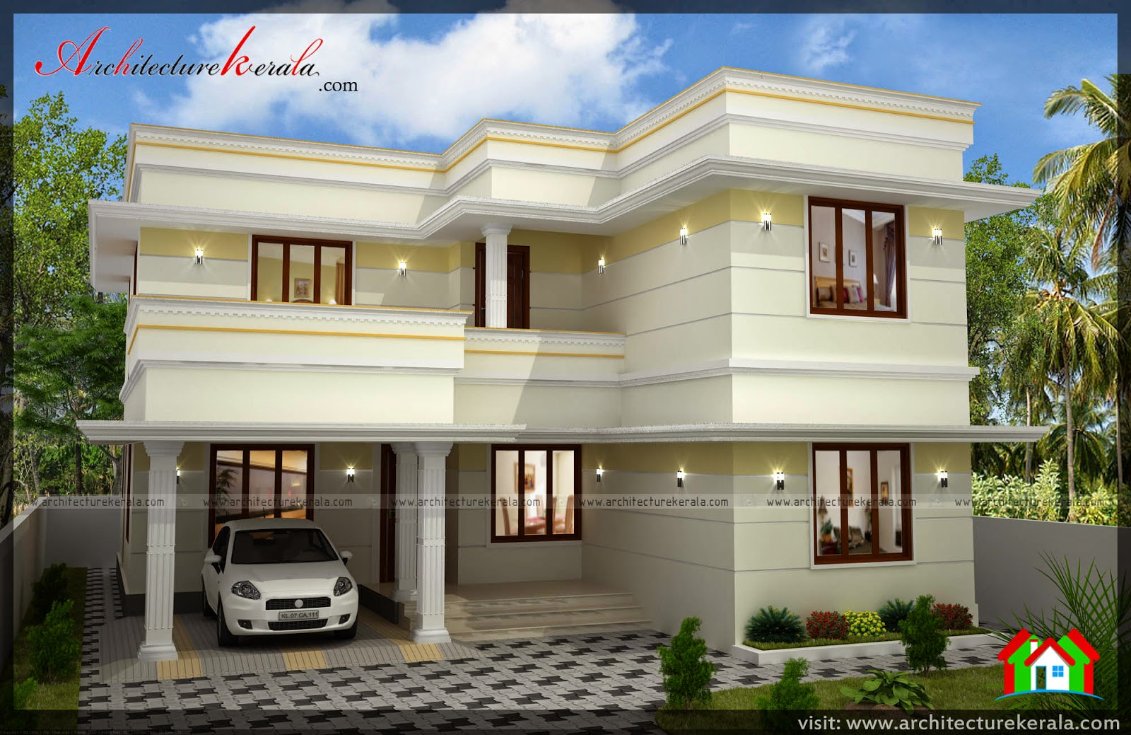 Three bedroom two storey house plan architecture kerala for Simple double storey house plans