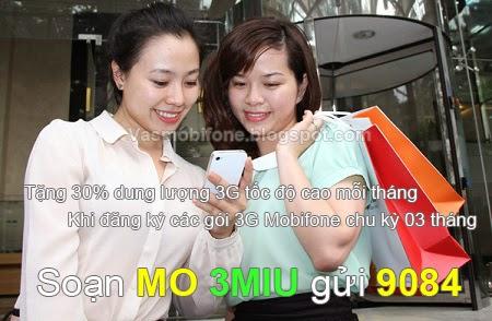 Tặng 30% dung lượng khi đăng ký 3G Mobifone 3 tháng