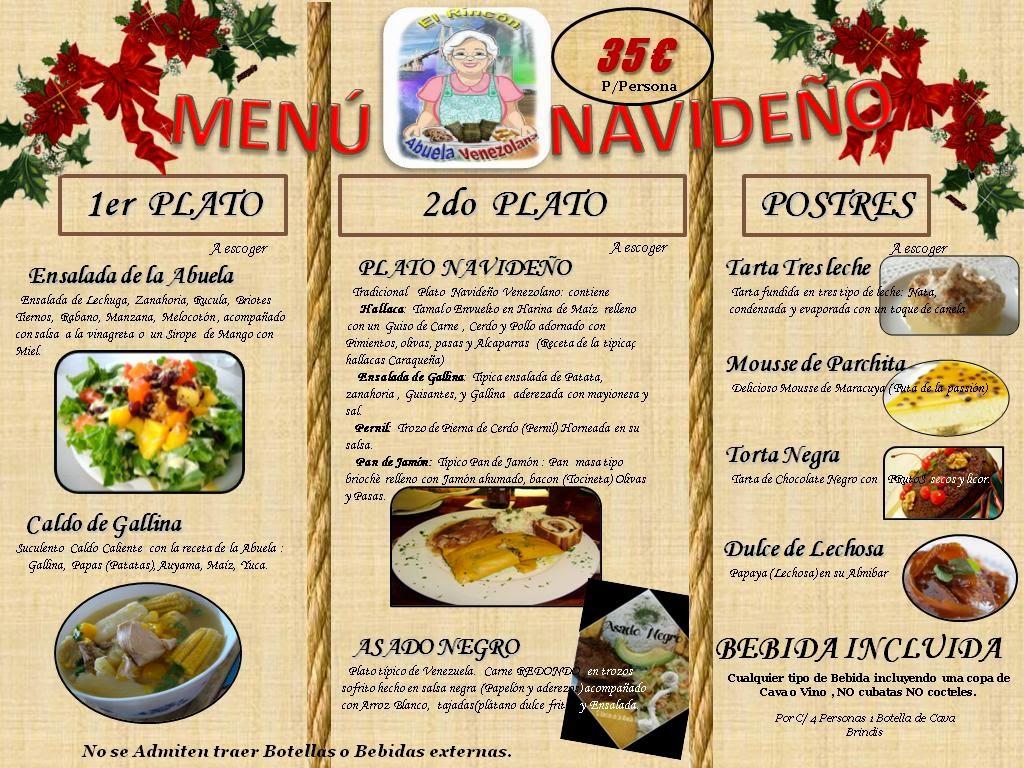 El rincon de la abuela venezolana restaurante cena de - Menus para fin de ano ...