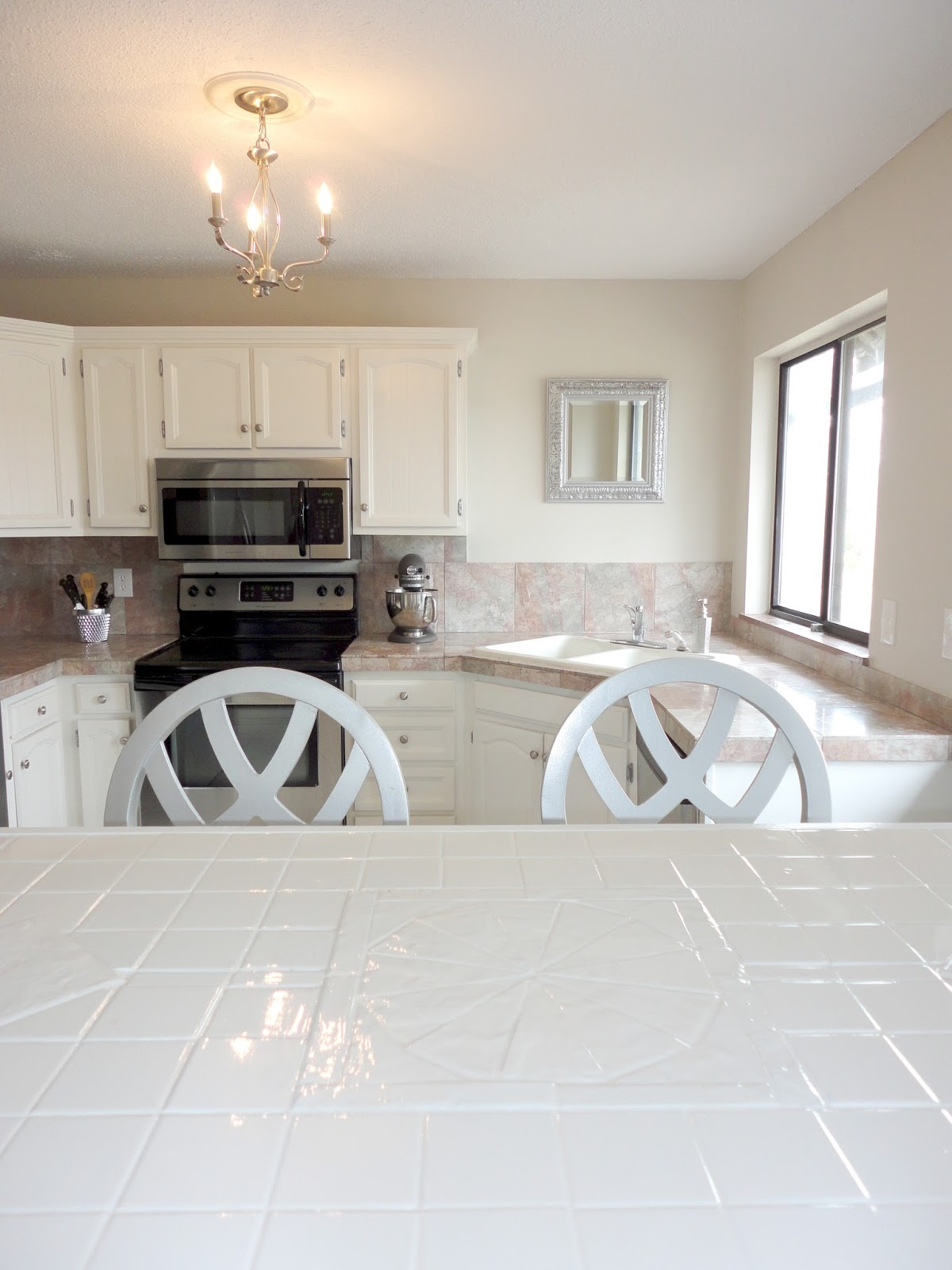 White Floor Tile Kitchen