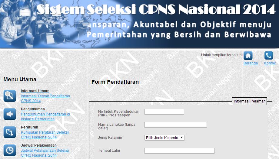Pendaftaran CPNS 2014 Melalui Sistem Online