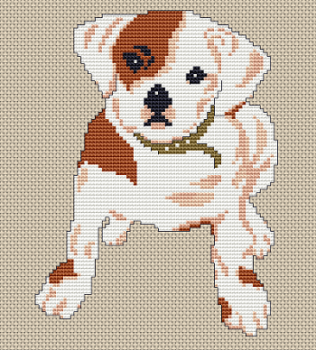 free cross stitch pattern bulldog puppy