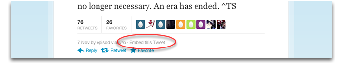 incorporar tweets novo twitter 2012