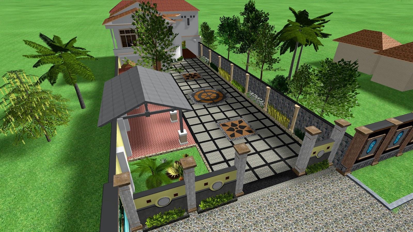 desain 3d halaman batu sikat dan taman kecil jasa hias taman