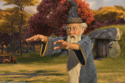 Merlin, arms raised, in Shrek the Third 2007