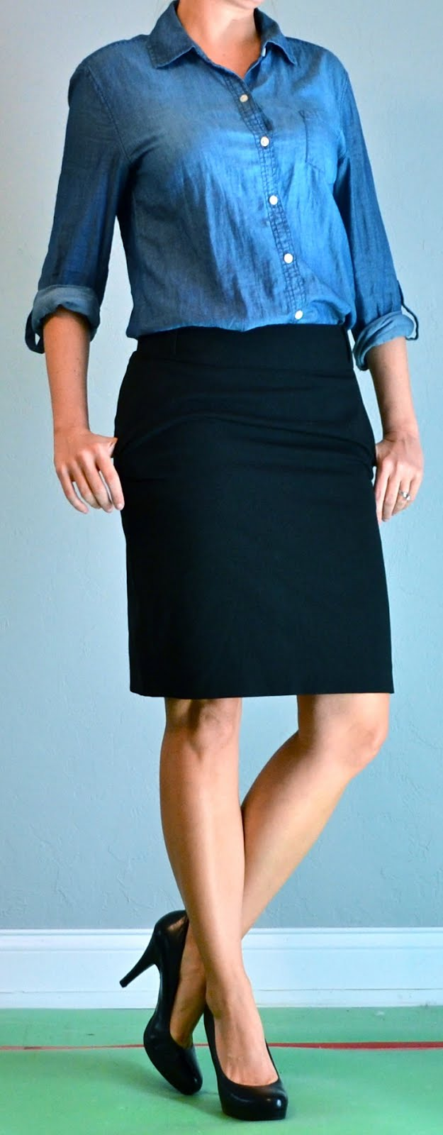 Outfit Posts outfit post chambray shirt black pencil skirt black heels