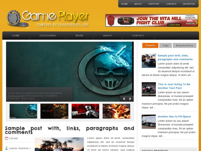 GamePlayer Blogger Template