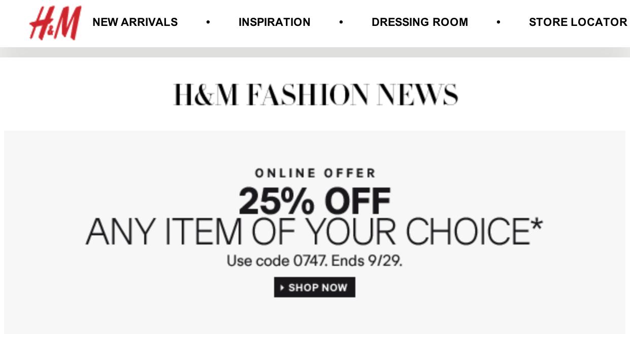 H & m coupon codes