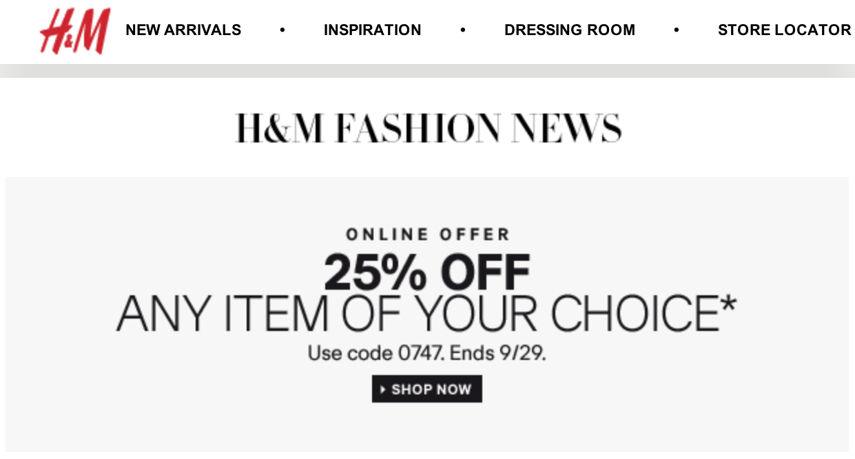 H & m coupon codes