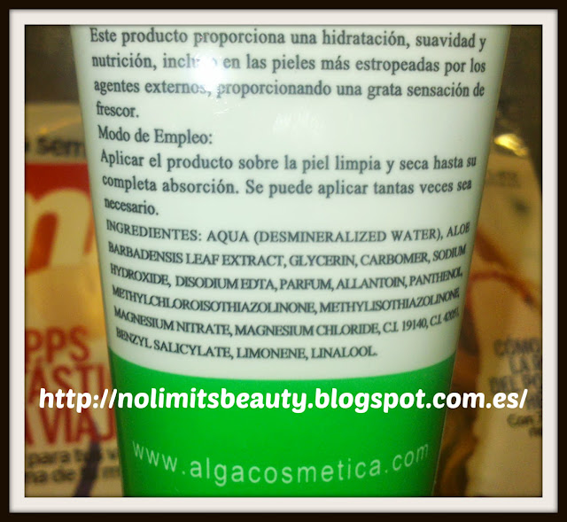 After sun de Aloe Vera de Valpharma: ingredientes