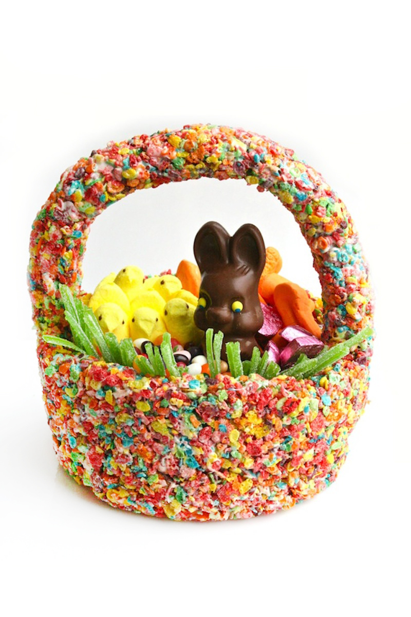 Easter idea my totally edible fruity pebbles easter basketomg im so darn excited to share this edible diy project with you i woke up yesterday with a crazy idea i should totally make an edible easter basket out of negle Images