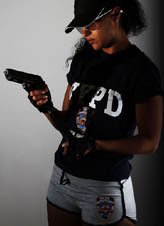 Cop girl with a gun