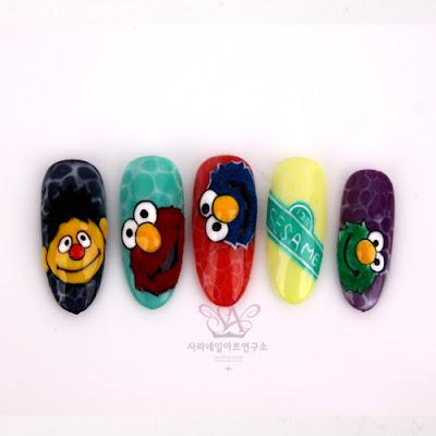 SESAME Characters Nail are, sesame nail art, wani velvet nail art
