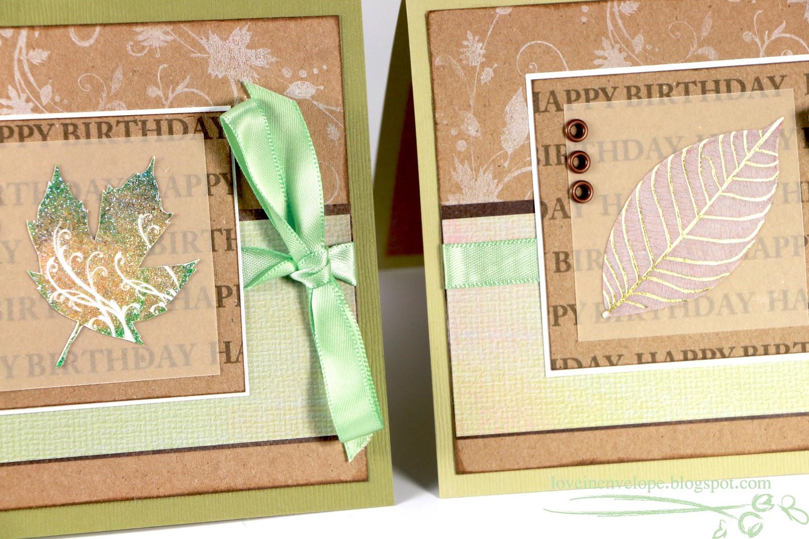 Printed Happy Birthday Unisex Leaf Cards Autumn/Fall