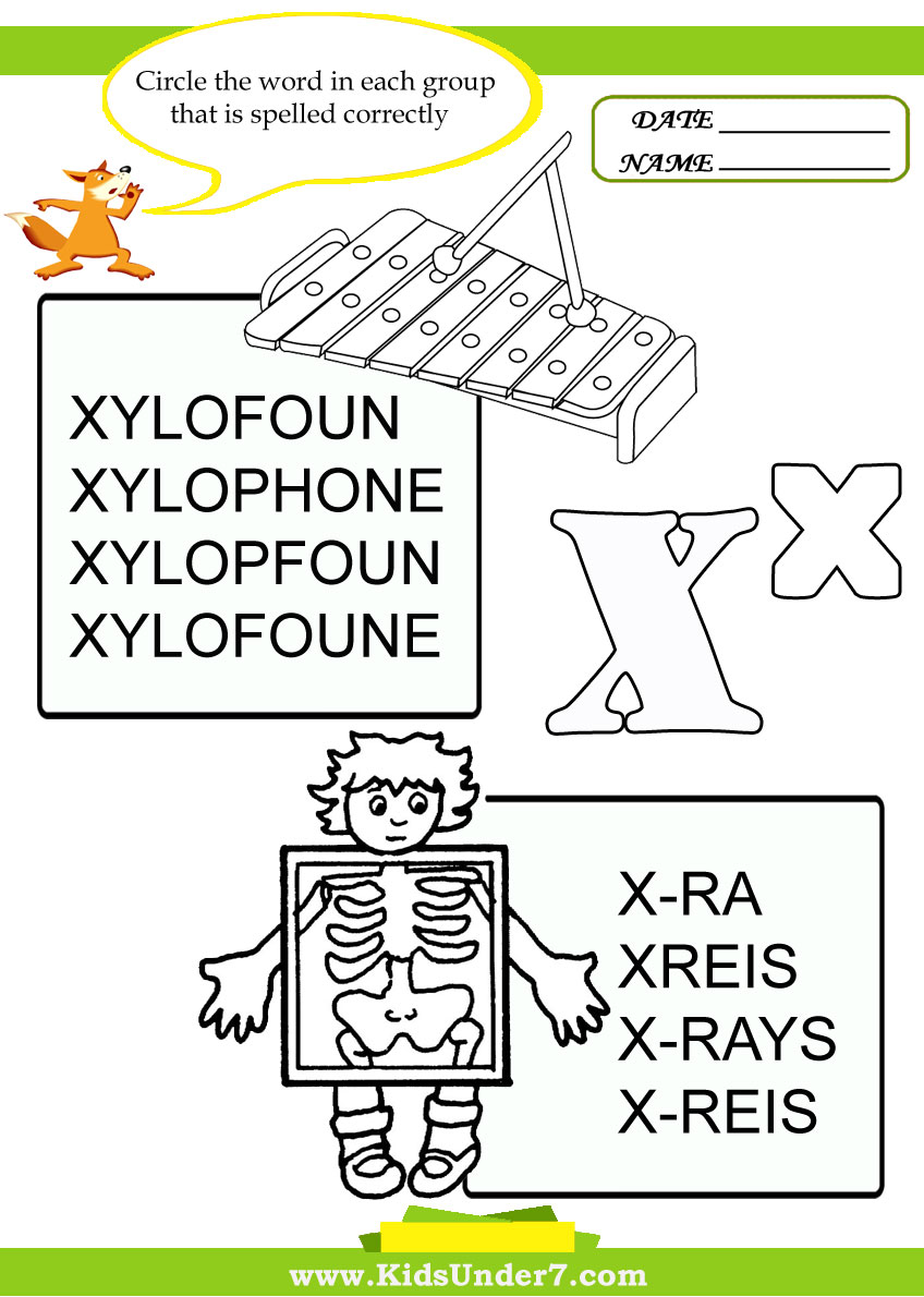 Correct spelling of letter X words.