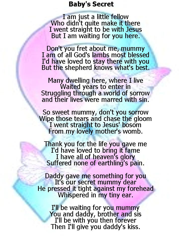 Baby Angels in Heaven Poems http://llmcalling.blogspot.com/2012/10/poems-for-babyloss-services-babys-secret.html