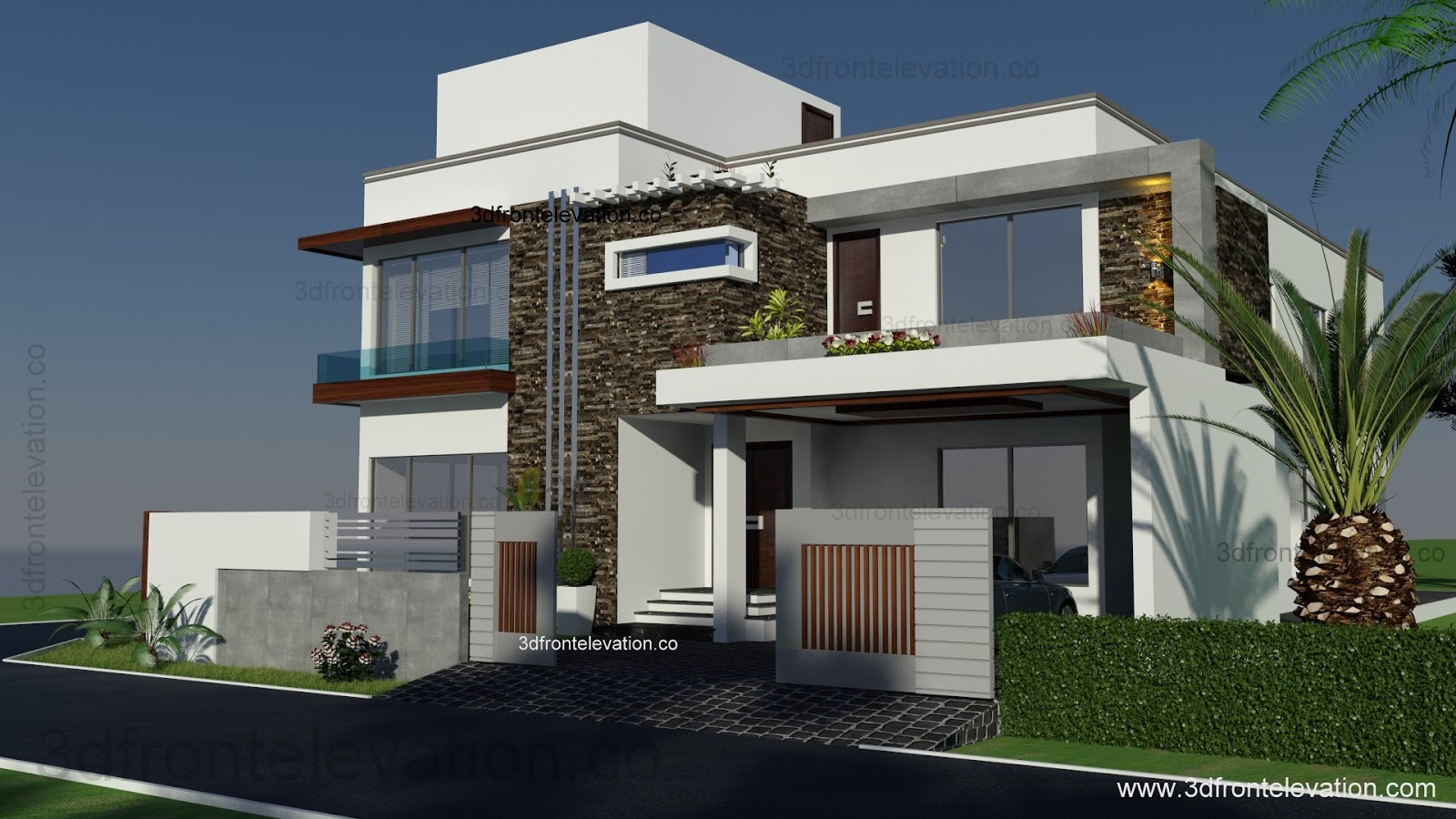3d front 500 square yards house plan 3d for House elevation for three floors building