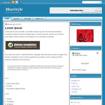 BlueStyle blogger template. template blue for blog
