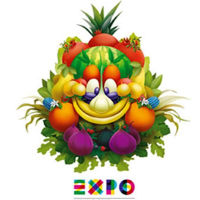 """Logo de l'exposition universelle de Milan en 2015 """"nourrir la panète"""""""
